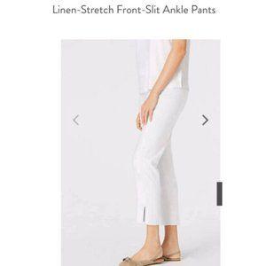 J Jill Linen Stretch Front-Slit Ankle Pants M